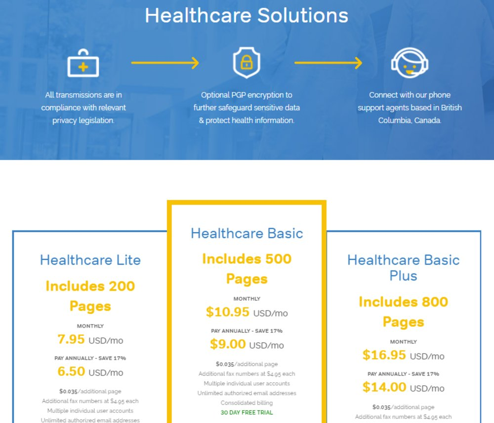 SRFax's HIPPA-compliance makes it ideal for medical practices. It even offers specific plans for healthcare businesses.