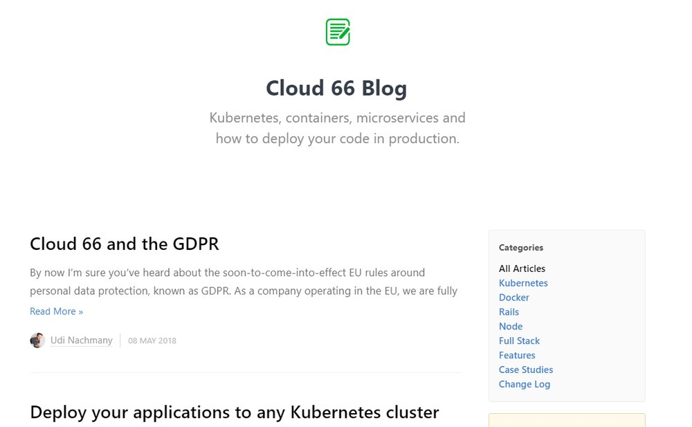The Cloud 66 blog offers insights and helpful hints for the platform's users.