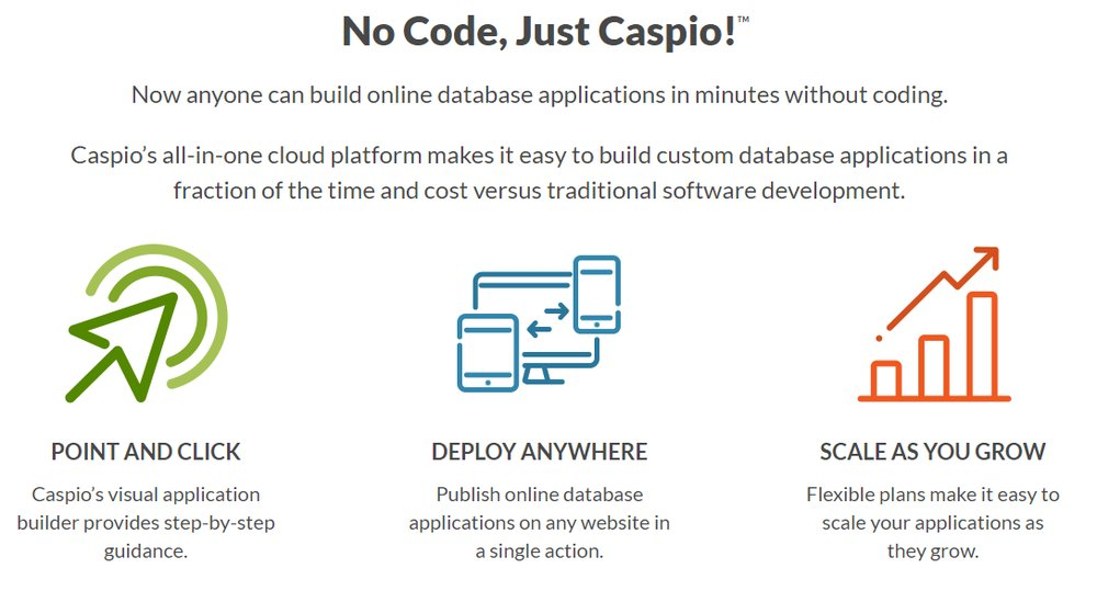 Caspio offers an easy-to-use, all-in-one platform that requires no coding on the user's part.