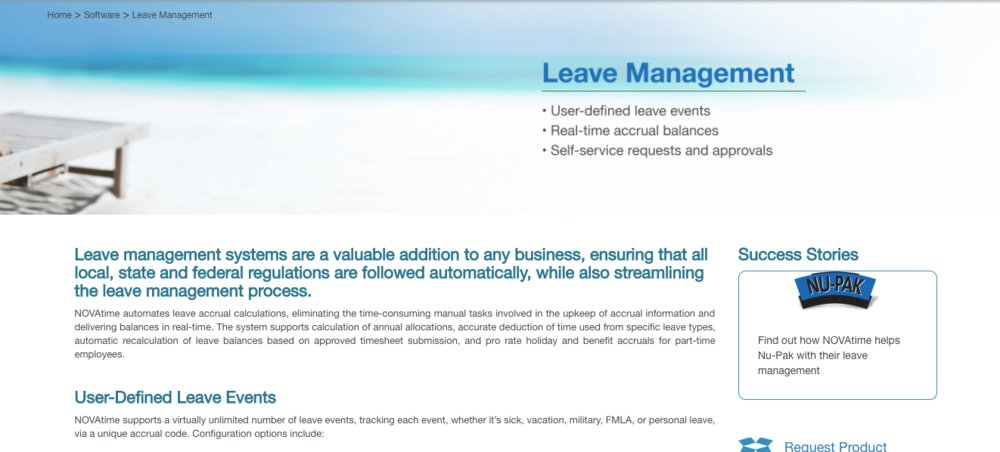 NOVAtime offers a leave-management module that tracks accruals and allows employees to request time off.