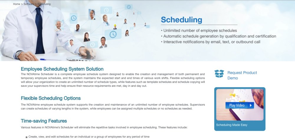 NOVAtime offers users access to a scheduling module that allows employers to create, view and edit schedules for individual employees or a group of workers.