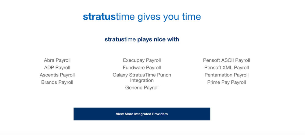 stratustime integrates with more than 60 payroll services.