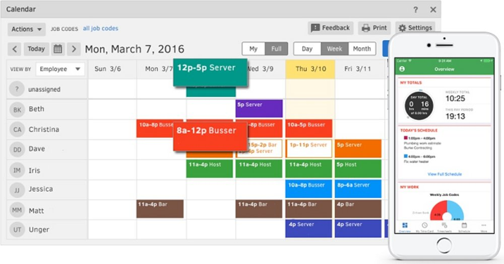 TSheets includes full scheduling capabilities. In addition to creating schedules on their computers with the drag-and-drop tools, those in charge can create and edit schedules from their mobile devices.