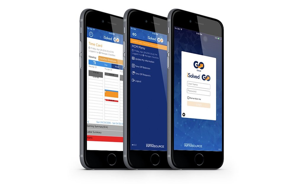 From iSolved's mobile app, employees can clock in and out, view their timecards, check their PTO accrual balances, request time off, and update tax and personal information.