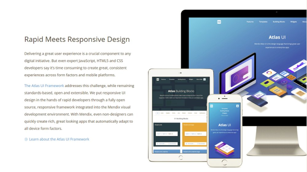The interface allows the quick creation of apps. Everything you design is responsive, so it will fit your users' screen size whether they're on smartphones, tablets or desktops.