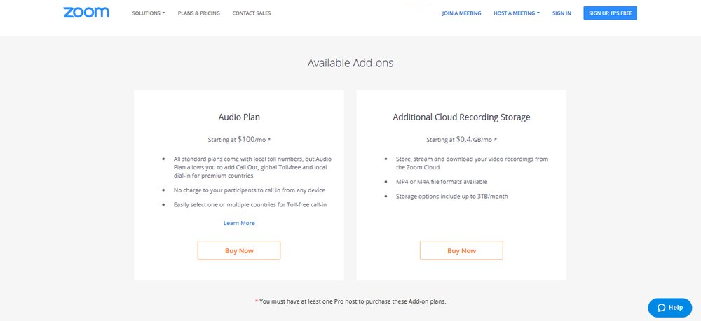 Zoom offers add-ons on top of basic pricing plans that augment services without requiring you to bump up services to the next pricing tier. This can boost the platform's effectiveness without breaking the bank.