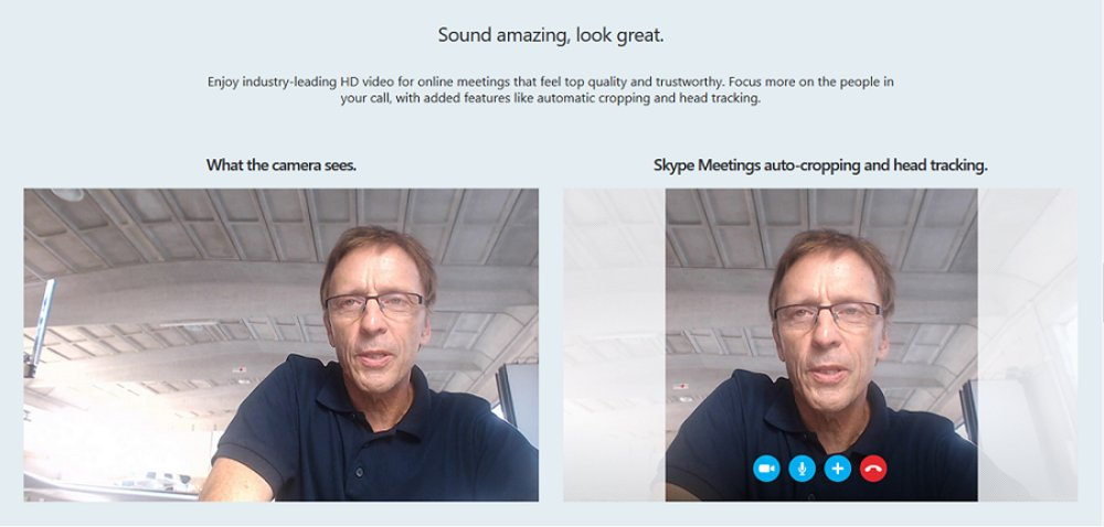 Skype for Business uses an automatic cropping function to focus on the face of participants and reduce unnecessary space in the frame, creating a more compact and aesthetically appealing experience.