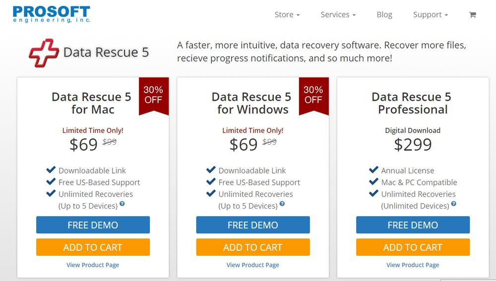 Data Rescue 5 offers standard licenses for Mac and Windows, as well as a Mac/PC-compatible Professional license with advanced features.