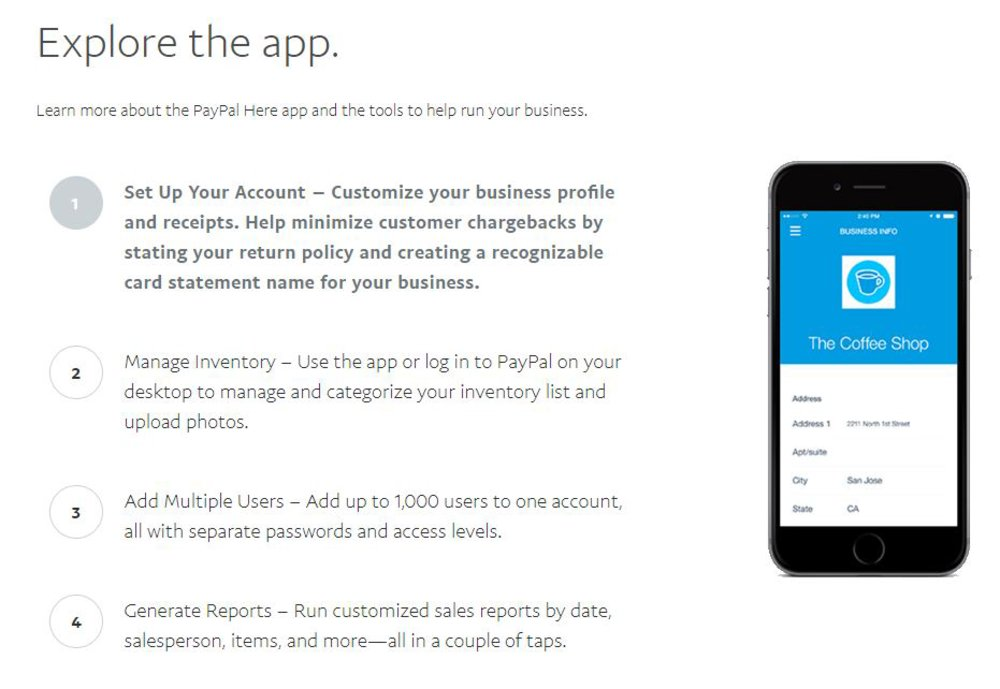 PayPal Here includes basic POS features to help you run your business. It works on Android phones and tablets, iPhones and iPads.