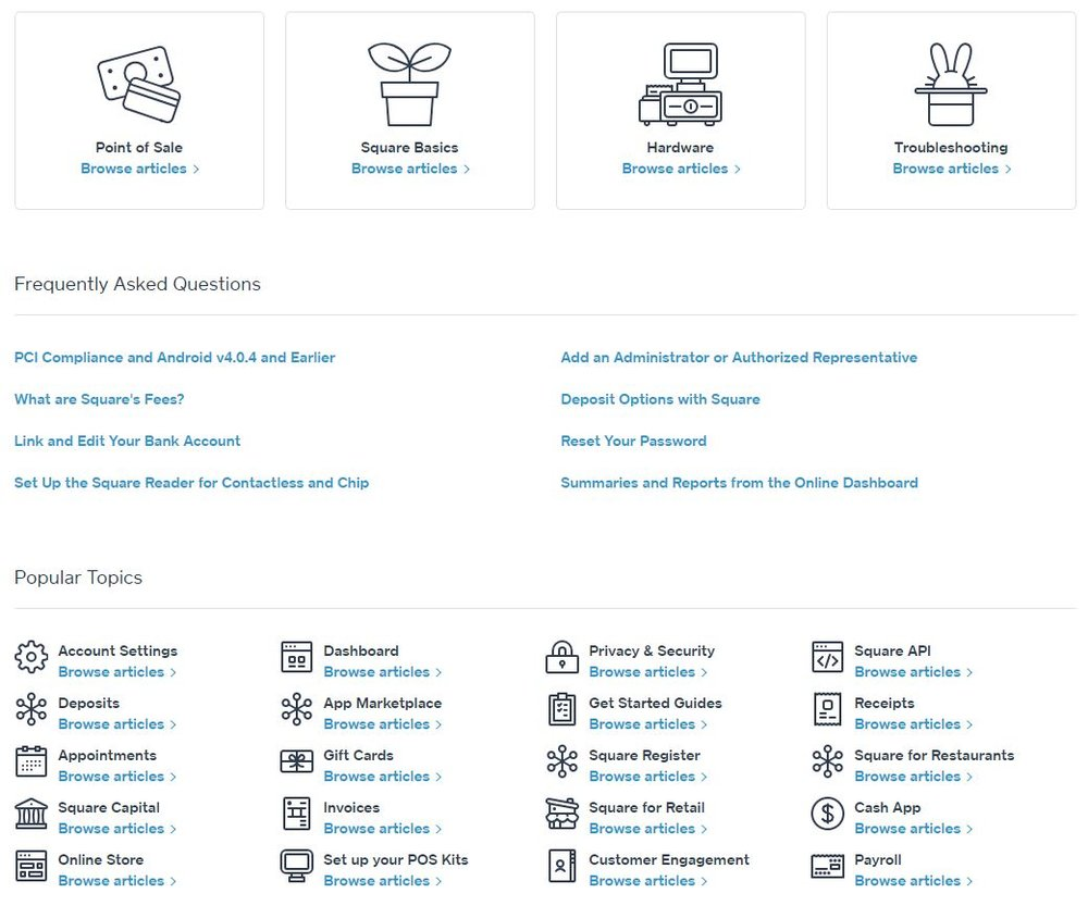 Square has an extensive collection of user support resources on its website.