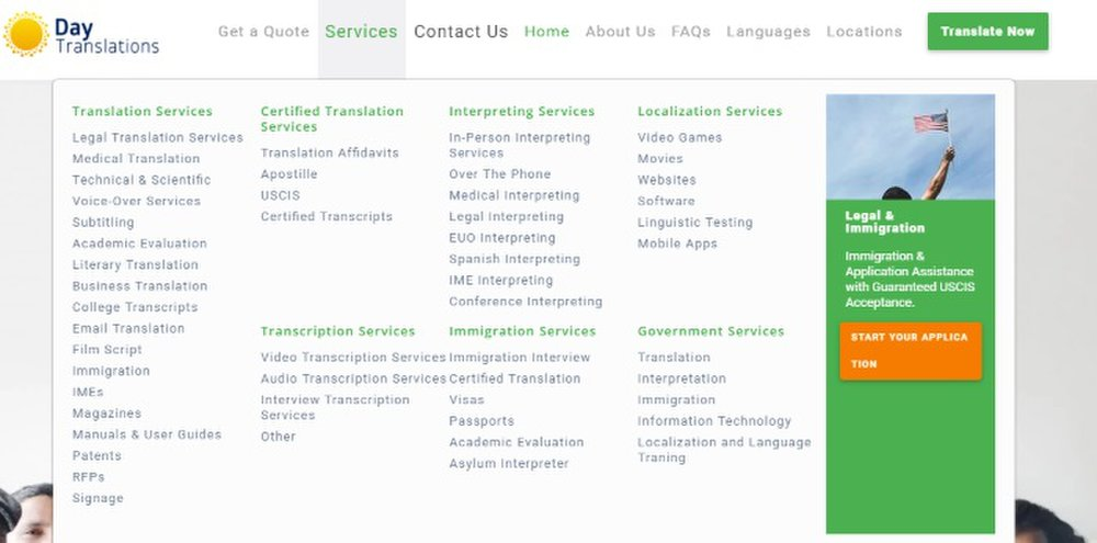 Day Translations offers numerous services beyond basic translation, including transcription, interpreting, immigration, localization and government.