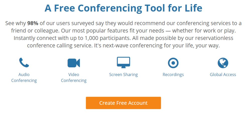 FreeConferenceCall.com offers screen sharing as well as dial-in numbers in more than 65 countries.