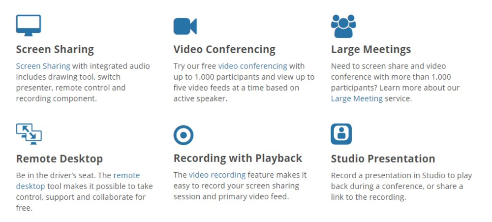 Users can record meetings and play back parts of the meeting if needed. The service also offers a large meeting service for groups looking to share a video conference with over 1,000 members.