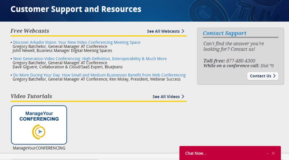 AT Conference offers free webcasts, video tutorials, chat support and a toll-free phone number for customers in need of help or training using the system.