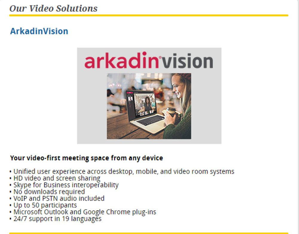 AT Conference is an Arkadin company and uses ArkadinVision as one of its video solutions.