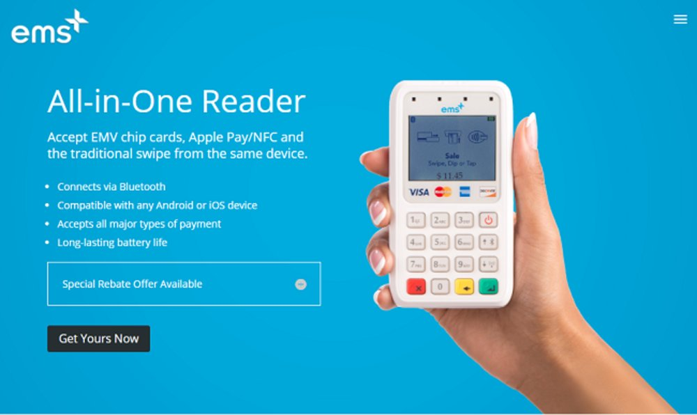 EMSplus's All-In-One Reader allows users to accept magstripe and chip cards as well as Apple Pay and Google Pay. It connects to your phone or tablet via Bluetooth.