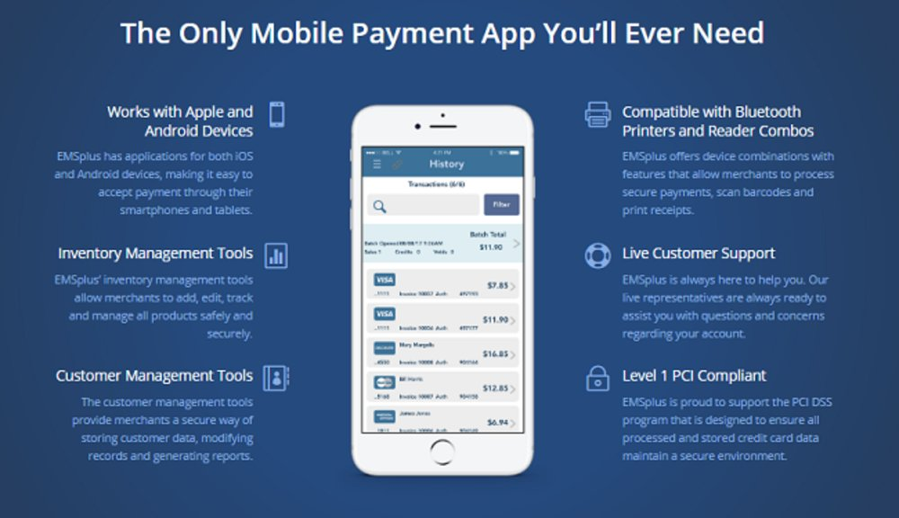 EMSplus's mobile payment app works on Android and Apple phones and tablets. It also works on the Apple Watch.