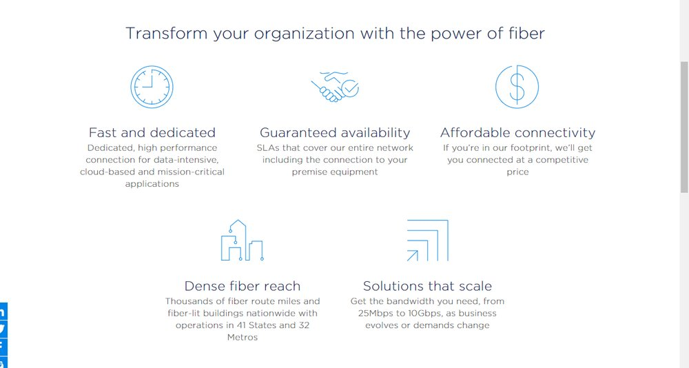 Spectrum's fiber optic network allows businesses to scale its internet speeds and bandwidth. Speeds range from 25 Mbps to 10 Gbps. According to Spectrum, fiber is ideal for large businesses, such as hotels, that require more bandwidth.