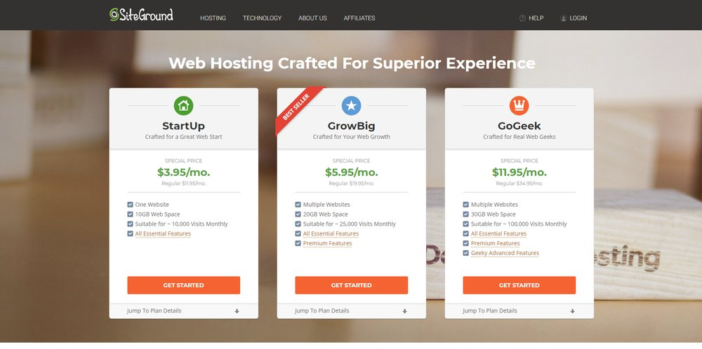SiteGround has three shared hosting solutions available that range between 10GB and 30GB. All plans include a drag-and-drop builder, free site transfer and email accounts.
