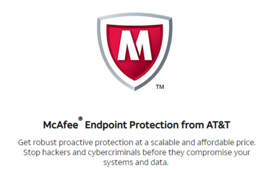 AT&T's DSL and fiber optic plans include McAfee's internet security suite to protect your business from viruses and malware.