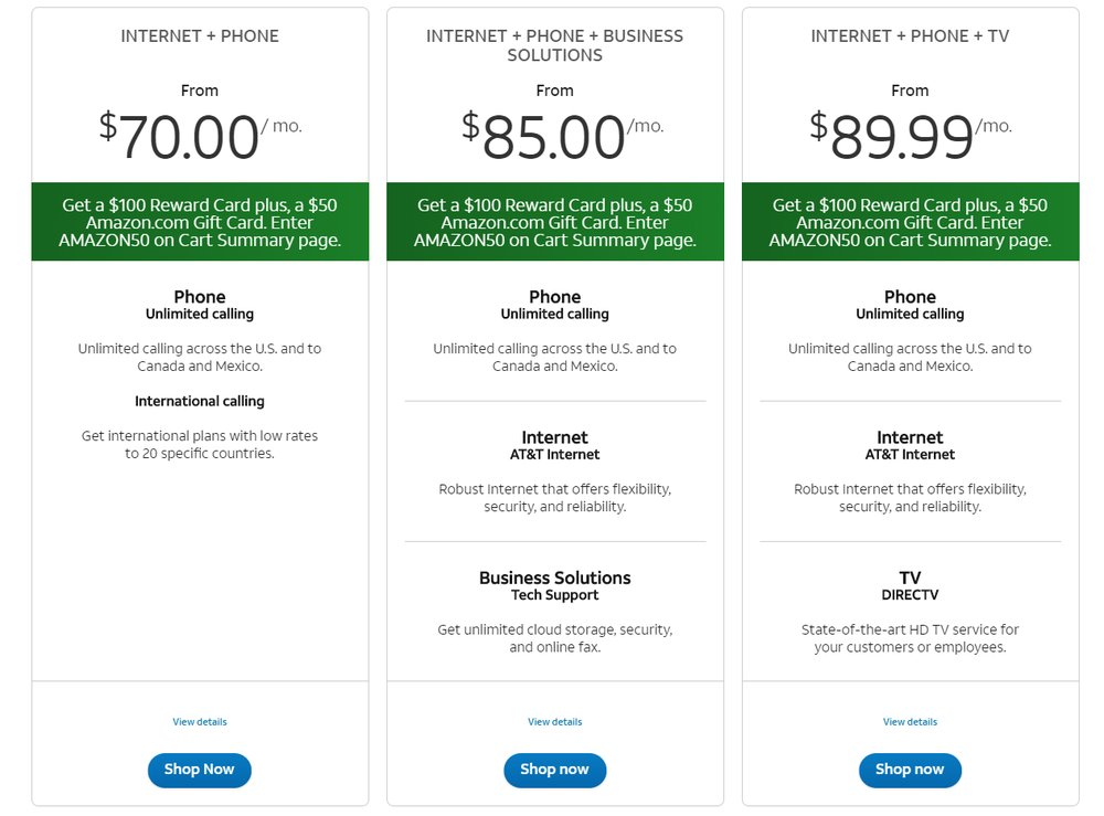 To save money, you can bundle internet service with AT&T's other services, including phone, TV, cloud storage and other solutions.