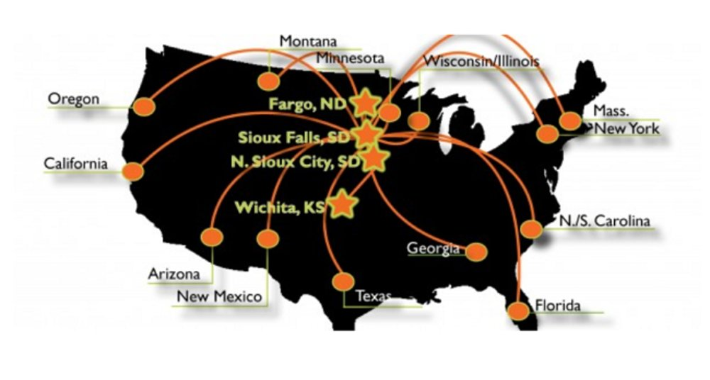 This map shows some of the areas of the United States Five Star Call Centers serves.