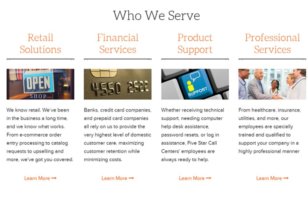 Five Star Call Centers help businesses from a variety of different industries.