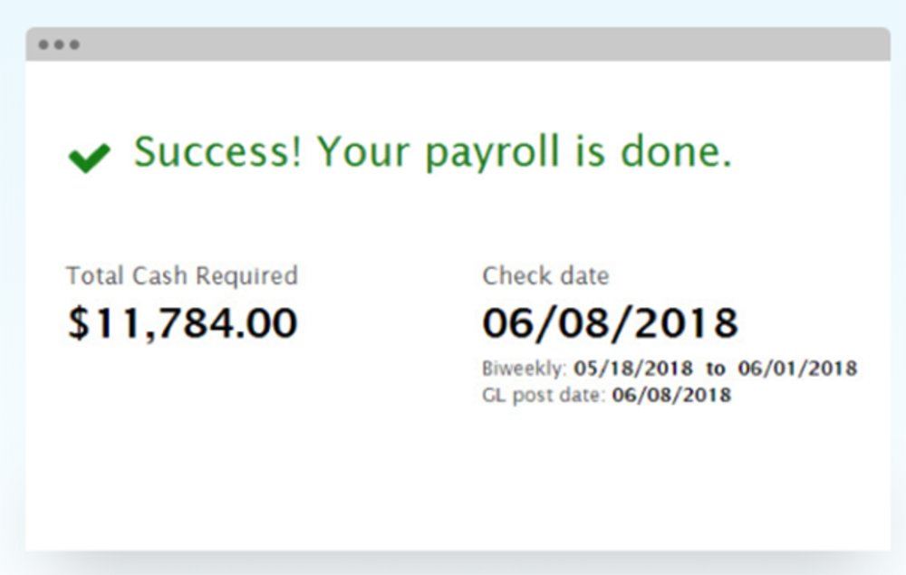 Once payroll is approved, Run Powered confirms your payroll has been received, the total amount of cash required for your current payroll and the date payroll will be paid to employees.