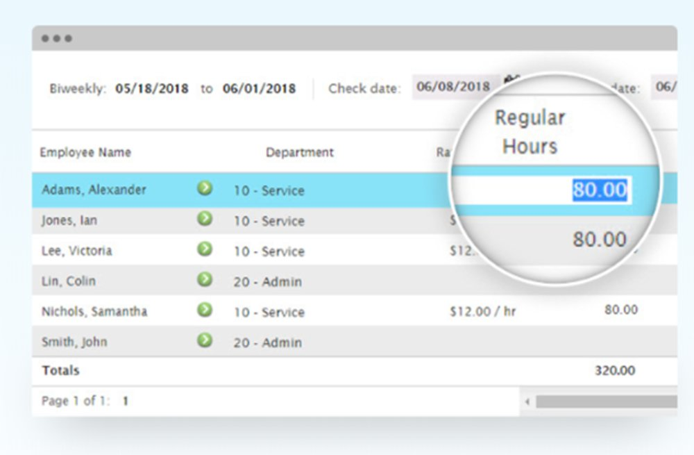 You can edit an employee's hours, pay rate, benefit time as well as bonuses for the current pay period.