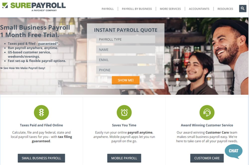 SurePayroll handles your company's payroll tax obligations. It will calculate, file, and pay all payroll taxes on your behalf to the proper federal, state, and local agencies.