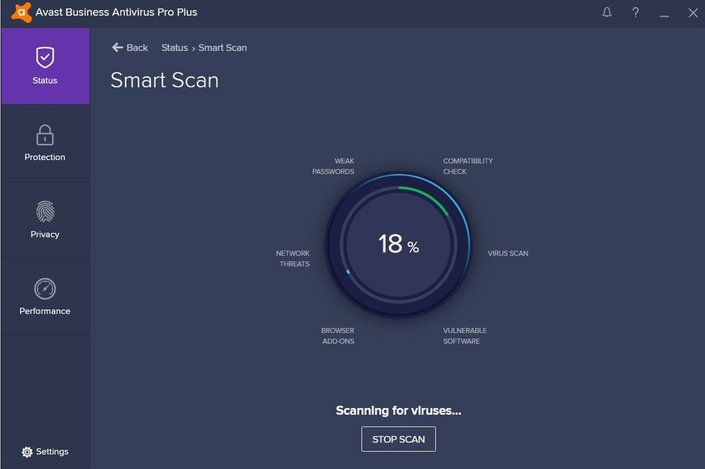 Avast's Smart Scan checks for security issues like weak passwords, network threats and viruses.