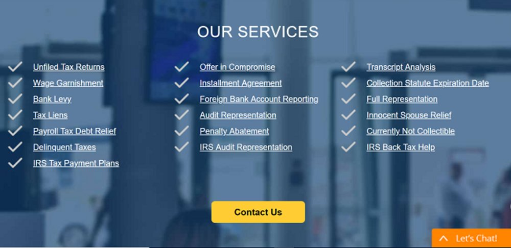 Due to its extensive list of services, Tax Defense Partners is our best pick for tax debt relief services.