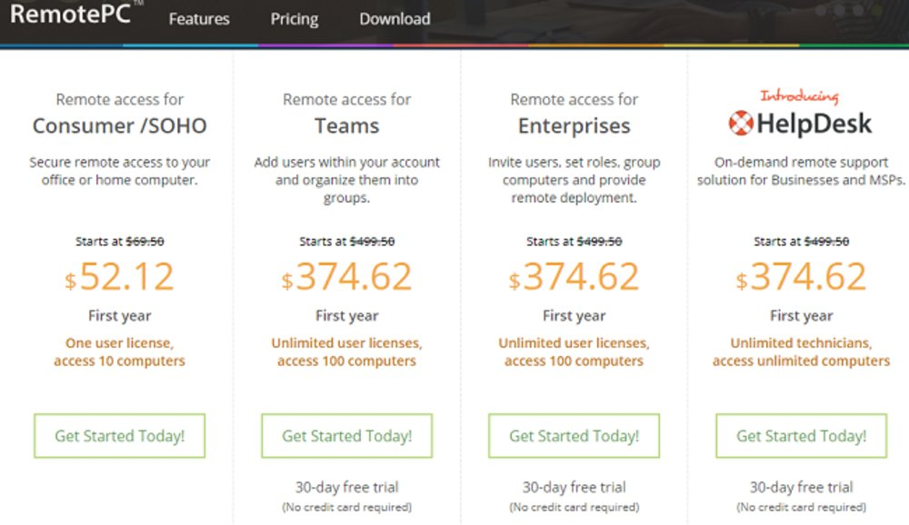 There are several different pricing plans for RemotePC.