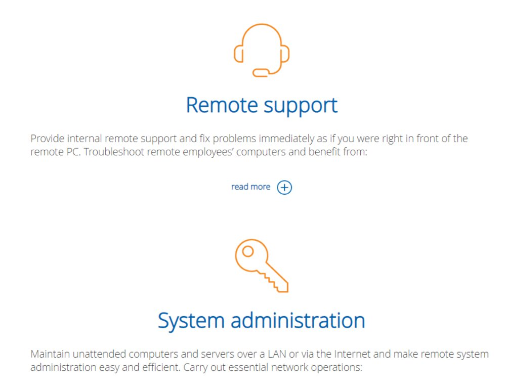 You can use the software's dashboard to connect to remote PCs, transfer files, chat, make calls and more.