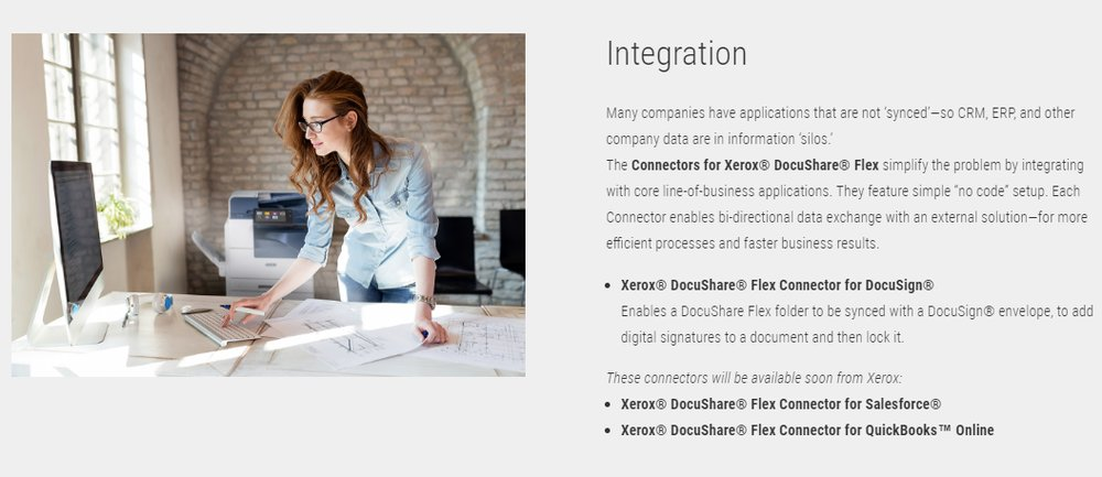 Xerox offers an integration with DocuSign, so you can add and then lock digital signatures. According to the company, integrations are coming soon for Salesforce and QuickBooks Online.