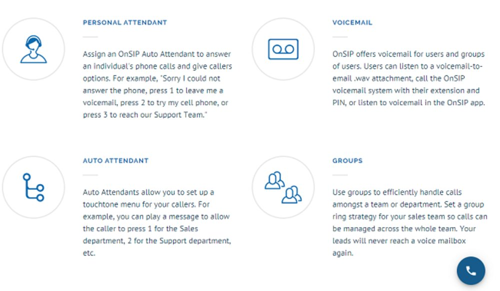 Features of OnSIP include voicemail and auto attendants.
