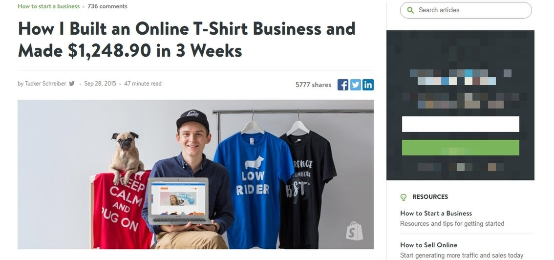 Ad for starting a t-shirt selling business online with pic of shirts and business owner and pug dog.
