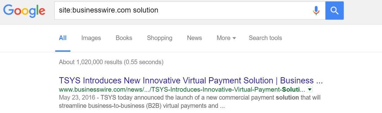 Google search results on businesswire.com solution