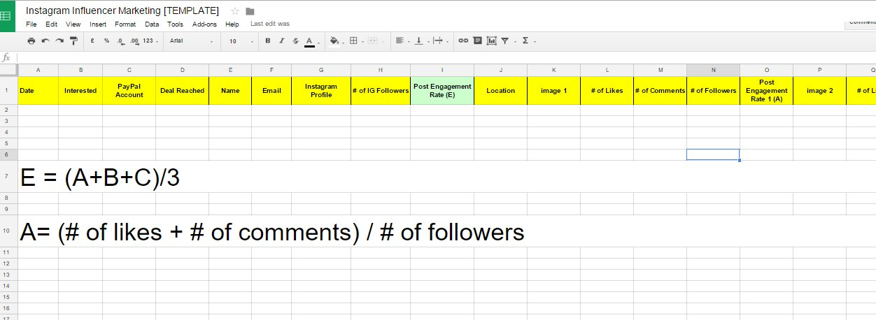 spreadsheet template  instagram influencer marketing campaign