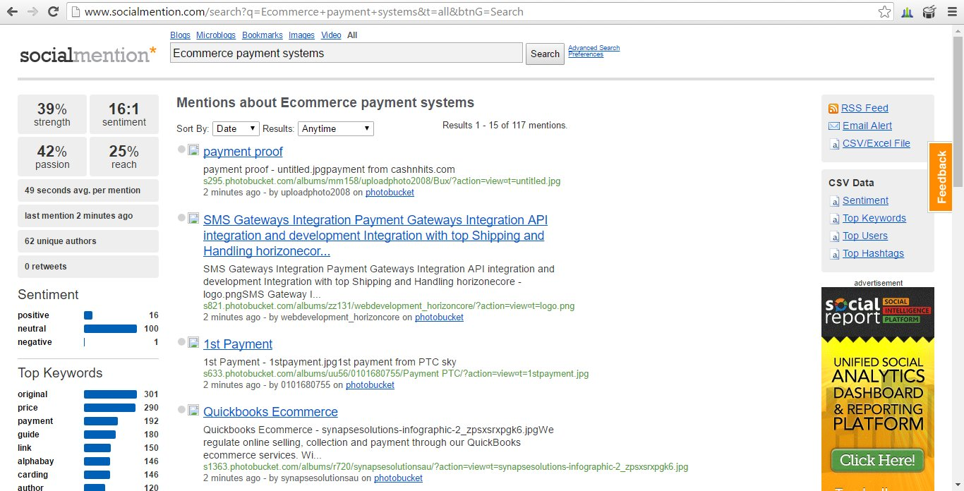 Social Mention - Mentions about ecommerce payment systems.
