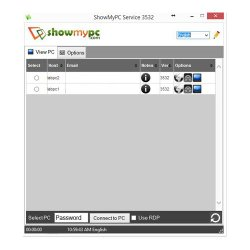 ShowMyPC image: The software's dashboard displays remote computers you can connect to.