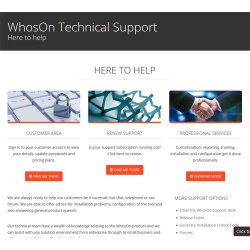 WhosOn image:  Rich technical support is offered on the WhosOn website.