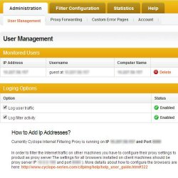 Cyclope Internet Filtering Solutions image: The User Management tab allows you to monitor internet activity by workstation.