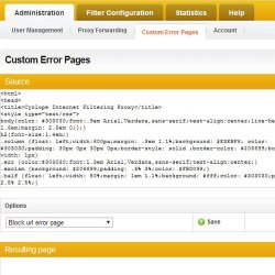Cyclope Internet Filtering Solutions image: The Custom Error Pages tab allows you to create custom messages for redirected users.