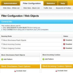 Cyclope Internet Filtering Solutions image: The Filter Configuration tab allows you to block script from running on visited pages.