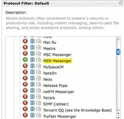 Websense Web FIlter image: This image of Websense Web Filter shows how simple it is to block different protocols such as instant messenger.