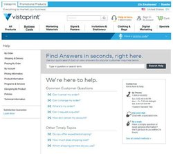 Vistaprint image: The service's help page houses the support team's contact information and frequently asked questions.