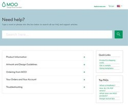 Moo image: The help center allows you to search for answers if you cannot find them on the frequently asked questions page.