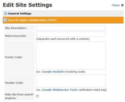 This image shows the section of Weebly Pro where you can optimize your site for search engines.