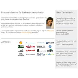 EDGE Professional Translation image: From the company webpage, you can read client testimonials - some of which are from big name companies.
